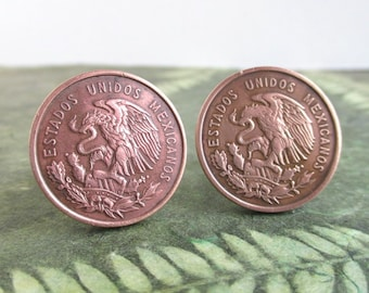 Mexico Coin Cuff Links - 1950's Bronze Mexican Coat of Arms - Eagle & Serpent Coins