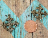 Small Pewter Hammered Square Crosses Antiqued Gold Bronze Perfect for Earrings