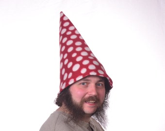 Red Gnome Hat with White Polka Dots  Wide Bell Brim Pointed Hat Mushroom Fairy Toadstool