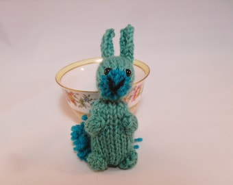 Hand Knit Bunny Plush Teal, Bunny Toy, Teal Bunny Stuffie, Knit Rabbit, Wool Bunny, Ready To Ship