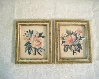 Two Small Vintage Floral Bernard Picture Co Pictures