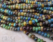 """Caribbean Summer - Aged Striped 6/0 Czech Glass Rocaille Seed Beads - 20"""" strand - 4mm - Bohemian Mix Opaque Picasso - Central Coast Charms"""