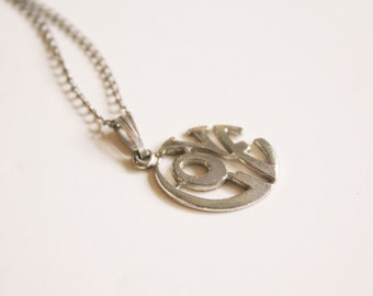 STERLING 1970s Silver Necklace with Love Pendant