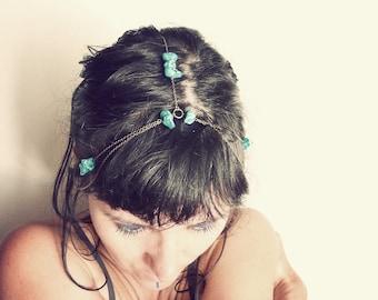 Blue turquoise headband stones ( crown, brass antiqued, gypsy caravan ) 01