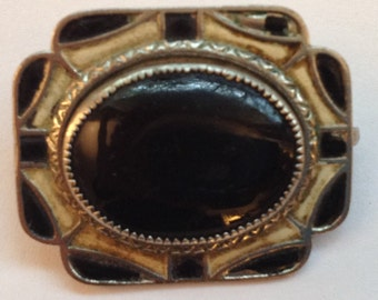 Vintage Art Deco Brooch Black and White Enamel