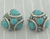 Pair Vintage Sky Blue Rhinestone Buttons Blue Rhinestones Simulated Turquoise Silver Tone Metal Fancy Buttons Clothing Accents