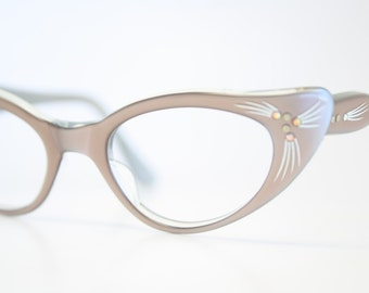 Unused Mink Rhinestone Cat Eye Glasses Cateye Frames Vintage Eyewear 1960s Eyeglasses New Old Stock