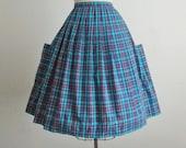 50's Skirt // Vintage 1950's Vibrant Blue Plaid Cotton Full Pleated Skirt S M