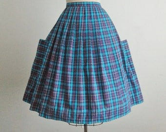 50's Skirt // Vintage 1950's Vibrant Blue Plaid Cotton Full Pleated Skirt S M
