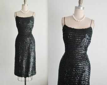 50's Sequin Wiggle Dress // Vintage 1950's Hourglass Marilyn Monroe Cocktail Party Wiggle Dress S