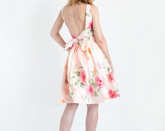 Sample Sale //Floral Print Silk Shantung Open Back Dress // Same Day Shipping