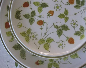 A Set of 2 Dinner and 3 Salad Plates in Mikasa's Everfresh Strawberry Hill Pattern