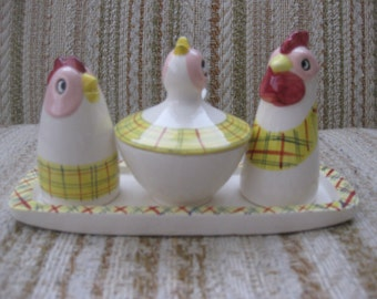 Chicken, Rooster and Chick Made in Japan Cruet Set with Tray