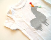 Party Llama Onesie (Gray with Yellow Polkadots on Orange Party Hat) - 6-9M Baby Bodysuit