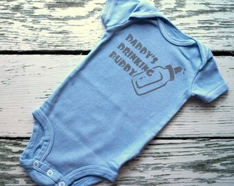 Daddy's Drinking Buddy  - 0-3M Baby Onesie (Deep Gray Text with on Smokey Blue Baby Bodysuit)