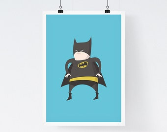 Fat Batman - Superhero Art, Illustration Print, Giclee art print