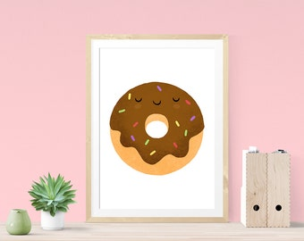 Foodie Gift, Kitchen Wall Art, Kitchen Art Print, Nursery Wall Art, Donut Art, Donut Print, Donut Illustration, Kitchen Print, Gift For Her