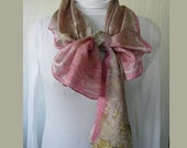 New silk scarf .Habotai silk scarf.Handmade. Eco print .Leaf pattern. Scarf. Eco dye.Multicolor.Pink,grey, green, yellow,brown, purple.