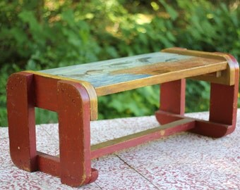 Primitive Hand Painted Handmade Wood Bench