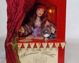 Dolls house Miniature Automaton Doll Madam Sorina Fortune Teller in Booth OOAK Artisan piece