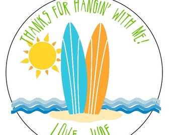 surf party stickers, custom surf birthday labels, fun in the sun stickers, beach party stickers, available in 3 sizes