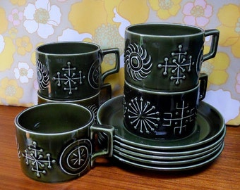 Portmeirion Totem Olive Green set of 5 Vintage Retro Teacups and saucers 60s 70s