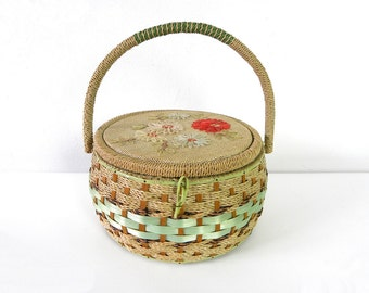 Vintage Round Beige and Blue Woven Rope and Wood Japanese Sewing Box With Flowers