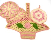 RESERVED FOR SUSAN 4 Crocheted Pink Hot Pads, Pot Holders - Vintage Kitchen