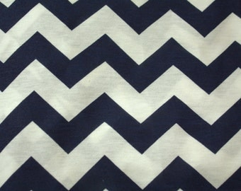 Navy and White Chevron Print Fabric (Slightly Flawed)