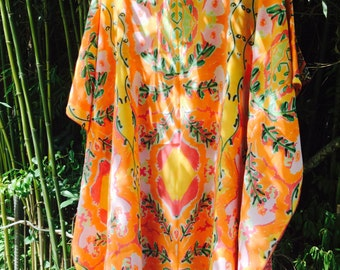 Short silk caftan dress
