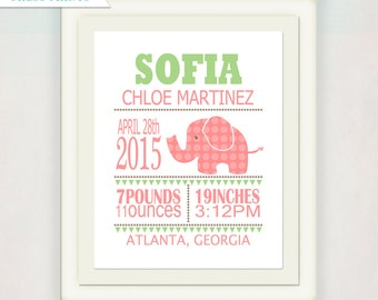 Personalized Girl's Birth Announcement Print // Custom Elephant Print with Baby's name // Kid's Nursery Wall Art // pink and green