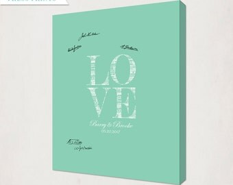 Seafoam Green Custom Love Wedding Canvas // Personalized Wedding Guest Book Alternative Canvas // Housewarming Canvas for Guest Signatures
