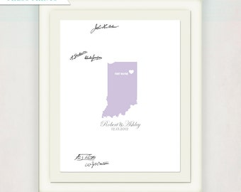 Wedding Guest Book Alternative // Custom State and City Wedding Sign for signatures // Bride and Groom's name Print // Gray and purple