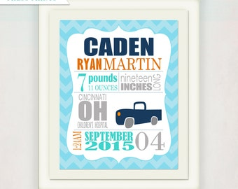 Birth Announcement with Truck Wall Art // Custom Truck Print for babies // navy blue grey teal / Personalized Kid's Nursery Print