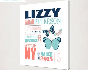 Birth Announcement Wall Art Canvas // Girl's Butterfly Canvas // Butterfly in Navy Teal Coral // Kid's Nursery // Butterfly Baby Canvas