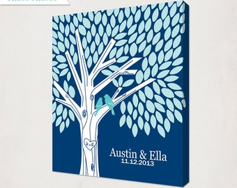 Wedding Guest Book Alternative Canvas // Poster Sign for signatures // Custom Birds Tree with names // Navy Blue Teal // 16X20 18X24 24X36