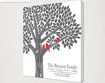 Tree Canvas with Initials in Gray and Red // Personalized Wedding or Anniversary // Custom Housewarming Gift with love birds // Wedding Sign