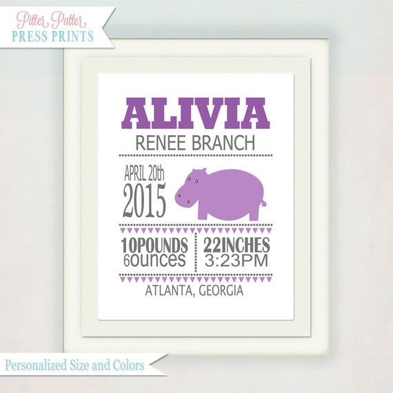 Personalized Girl's Birth Announcement // Custom Hippo Print with Baby's name // Child's Nursery Wall Art // Baby Announcement Print