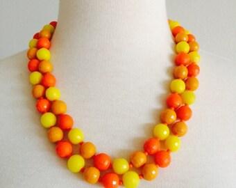 60s Orange Necklace Beaded