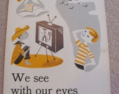 """Vintage Illustrated Large Flash Card Science Chart Poster -- 11"""" x 14"""" We See With Our Eyes"""