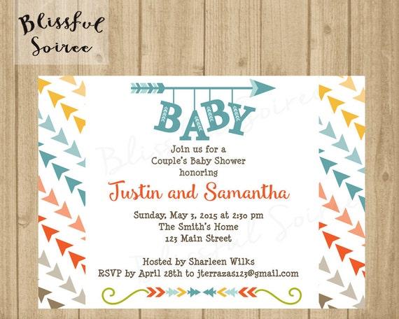 arrow baby shower invitation / baby shower invite / aztec, Baby shower invitations