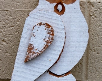 Vintage, handmade folk art owl wall hanging. Ready for your home or patio. Southern Indiana folk art.