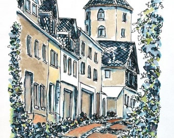 "German Architectural Art Streetscape Speedball Pen and Ink Cityscape Wall Decor 7.5"" x 11"" Black Brown Blue Germany"