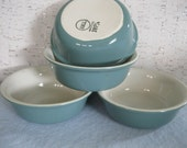Hall Turquoise Restaurant Ware Dessert Bowls / Vintage Hall China / Made in USA