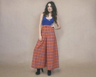 70s Palazzo Pants PLAID Madras High Waisted Wide Leg Bell Bottoms 1970s Hippie Orange Blue Tartan Gaucho Pants Glam Boho / Size L Large