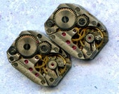 """1/2"""" x 3/4"""", 2 IDENTICAL striped little watch movements, best price, jewelry art, steampunk, vintage, watch parts, JunqueTreasures, WM7"""