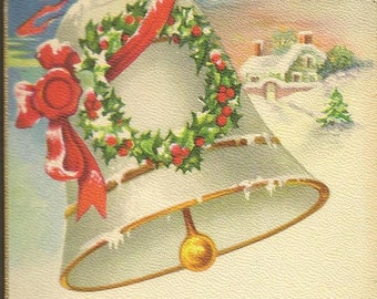 White Christmas Bell Decorated with Holly Wreath Snow Covered Cottage Vintage Christmas Postcard Stecher Litho