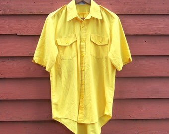 80s/90s Banana Yellow Button Up Spring Summer Mens Button Up Short Sleeve Fashion Shirt M