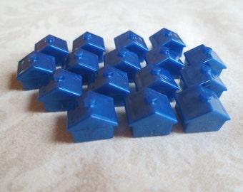 16 Blue Plastic Monopoly Houses