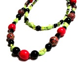 Hot Pink, Black and Green Necklace and Choker Set - Layering, Fun, Colorful, Multicolor, Unique Beads, One of a Kind, Clay, Natural Stones